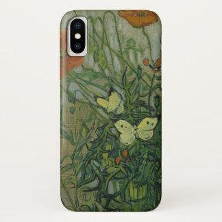 Funda Para iPhone X Mariposas y amapolas de Vincent van Gogh