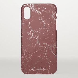 Funda Para iPhone X Mármol elegante de Borgoña personalizado