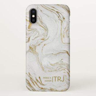 Funda Para iPhone X Mármol minimalista moderno del oro del monograma