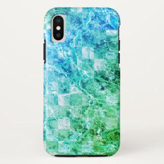 Funda Para iPhone X Mármol moderno brillante del verde azul del mar