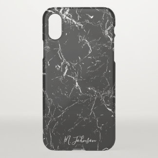 Funda Para iPhone X Mármol negro elegante personalizado