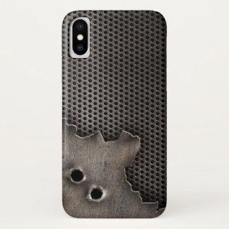 Funda Para iPhone X Metal con el fondo de los agujeros de bala