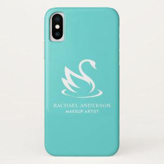 Funda Para iPhone X Minimalist blanco del cisne en azul del huevo del
