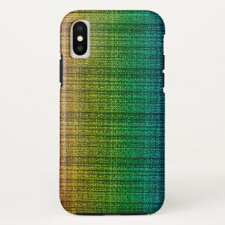 Funda Para iPhone X Mirada de la tela del tweed del arco iris modelada
