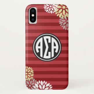 Funda Para iPhone X Modelo alfa de la raya del monograma de la alfa el