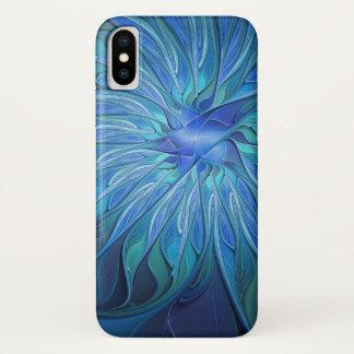 Funda Para iPhone X Modelo azul de la fantasía de la flor, arte