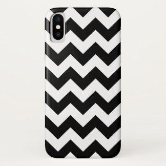 Funda Para iPhone X Modelo blanco y negro de Chevron del zigzag