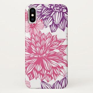 Funda Para iPhone X Modelo con los asteres y la dalia rosados