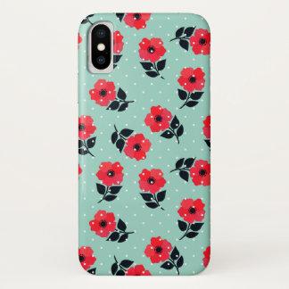 Funda Para iPhone X Modelo de flores rojo lindo y femenino