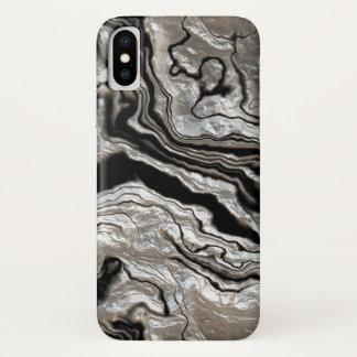 Funda Para iPhone X Modelo de mármol negro de plata fundido