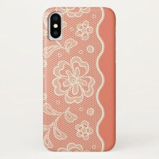 Funda Para iPhone X Modelo del cordón, vintage 4 de la flor
