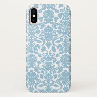 Funda Para iPhone X Modelo del damasco del vintage - azul claro