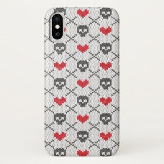 Funda Para iPhone X Modelo hecho punto con los cráneos
