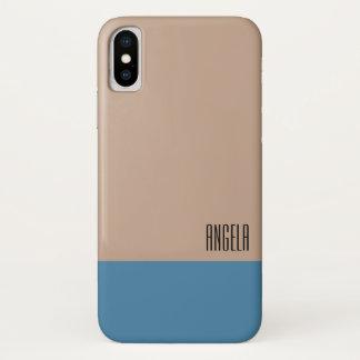 Funda Para iPhone X Monograma beige/azul en colores pastel