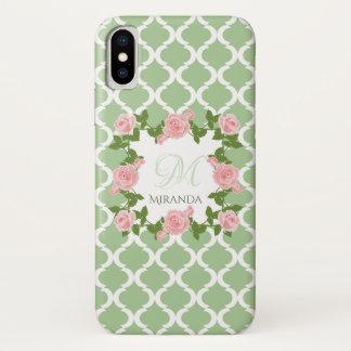 Funda Para iPhone X Monograma color de rosa rosado de Quatrefoil del