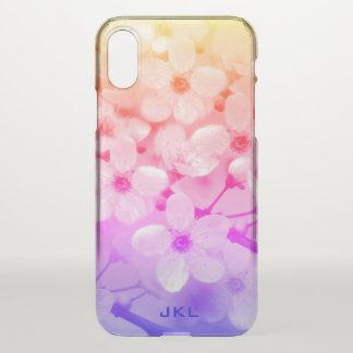 Funda Para iPhone X Monograma de las flores de cerezo del arco iris