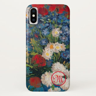 Funda Para iPhone X Monograma de las flores de Van Gogh y de Elizabeth