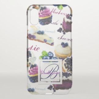 Funda Para iPhone X Monograma de los arándanos y de los dulces de la