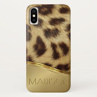 Funda Para iPhone X Monograma de lujo del oro de la piel de imitación