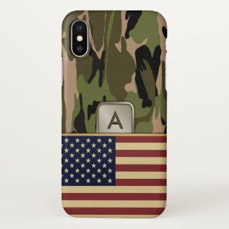 Funda Para iPhone X Monograma del camuflaje de la bandera americana
