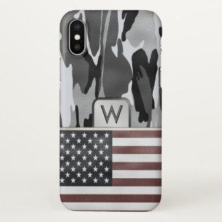 Funda Para iPhone X Monograma del camuflaje del invierno de la bandera