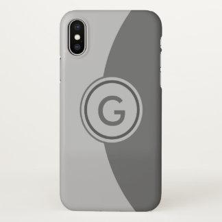 Funda Para iPhone X Monograma del gris de dos tonos