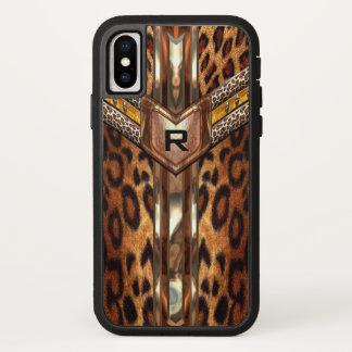 Funda Para iPhone X Monograma elegante del estampado de animales de