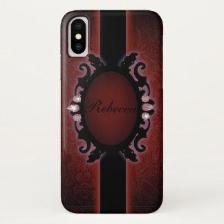Funda Para iPhone X monograma gótico negro y rojo del steampunk