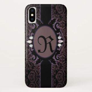 Funda Para iPhone X monograma gótico púrpura del ciruelo negro del
