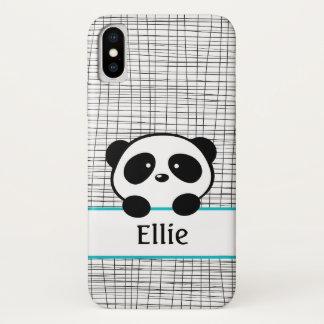 Funda Para iPhone X Monograma lindo del nombre del oso de panda en
