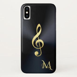 Funda Para iPhone X Monograma negro elegante del Clef de la música del
