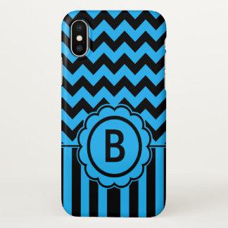 Funda Para iPhone X Monograma negro y azul de Chevron