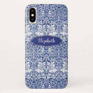 Funda Para iPhone X Monograma personalizado conejo azul del modelo de