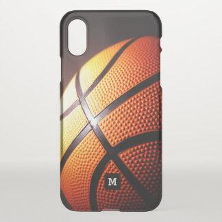 Funda Para iPhone X Monograma. Primer del baloncesto