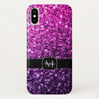 Funda Para iPhone X Monograma rosado púrpura de las chispas del