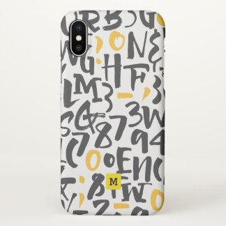 Funda Para iPhone X Monograma. Tipografía negra y amarilla moderna