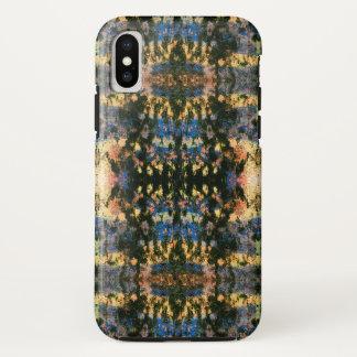 Funda Para iPhone X Multicolor del negro del teñido anudado de Ikat el