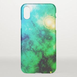 Funda Para iPhone X Nebulosa azul difusa y supernova del espacio verde