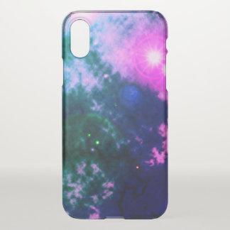 Funda Para iPhone X Nebulosa difusa y supernova del espacio rosado
