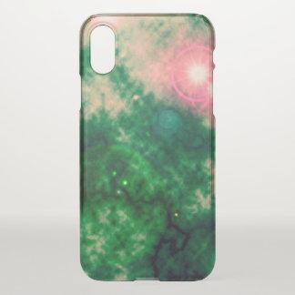 Funda Para iPhone X Nebulosa difusa y supernova del espacio verde
