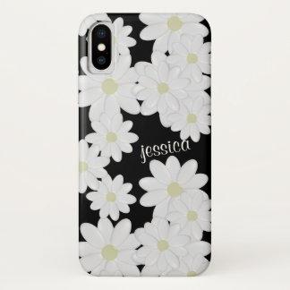 Funda Para iPhone X Negro moderno de la margarita blanca