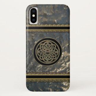 Funda Para iPhone X Negro y nudo céltico metalizado del oro en el caso