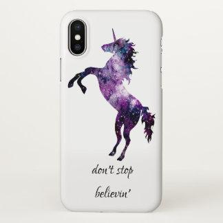 Funda Para iPhone X No pare la nebulosa de la acuarela del unicornio