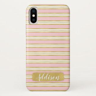 Funda Para iPhone X Nombre rosa claro del personalizado del modelo de