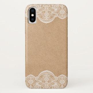 Funda Para iPhone X Novia rústica de Kraft que se casa y del cordón
