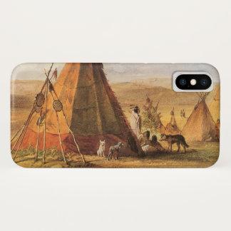 Funda Para iPhone X Oeste americano del vintage, tiendas de los indios