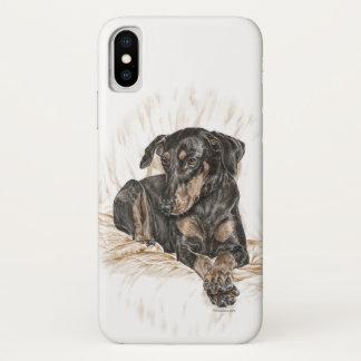 Funda Para iPhone X Oídos naturales del perro del Doberman