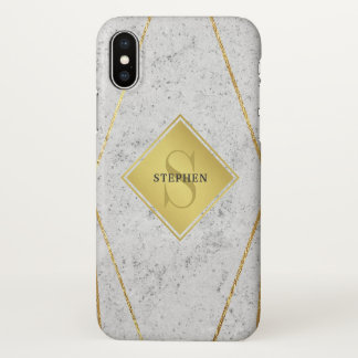 Funda Para iPhone X Oro blanco del granito del monograma masculino