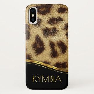 Funda Para iPhone X Oro moderno del negro del monograma de la piel de