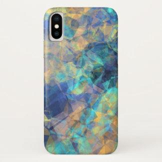 Funda Para iPhone X Oro verde azul del modelo cristalino geológico